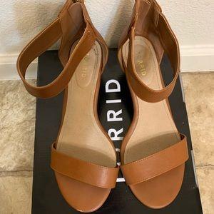 Torrid tan ankle strap wedges